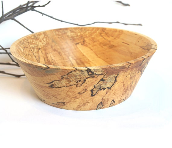 Minimalist Styled Hand Turned Spalted Birch Wood Bowl Fruit