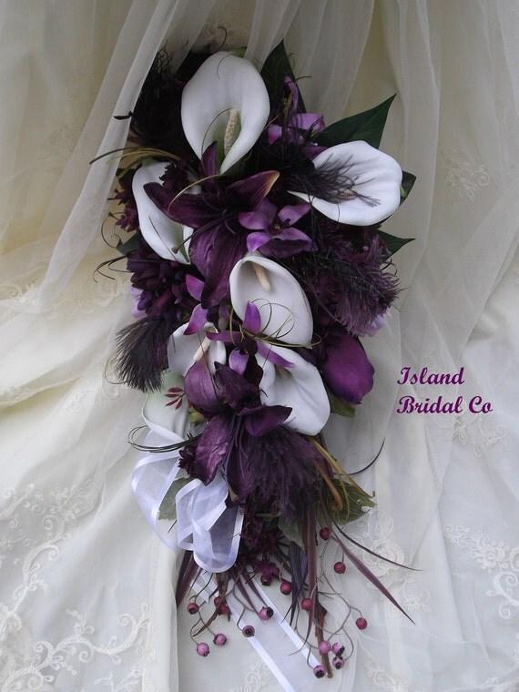 Silk Wedding Bouquet Set White Calla Lilly, Purple
