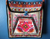 SALE - Boho/Hippie Purse - Asian Embroidery - Bright Colors - Long Strap