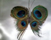 Peacock Feather Butterfly Hair Comb