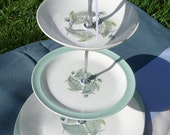 Three Tier Cake Stand made with Wedgwood plates in the 'Woodbury' pattern