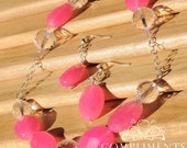 Hot Pink with Clear Crystal - Necklace & Earring Set