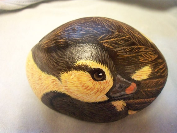 Duckling Baby Duck Painted Rock Brown and Yellow