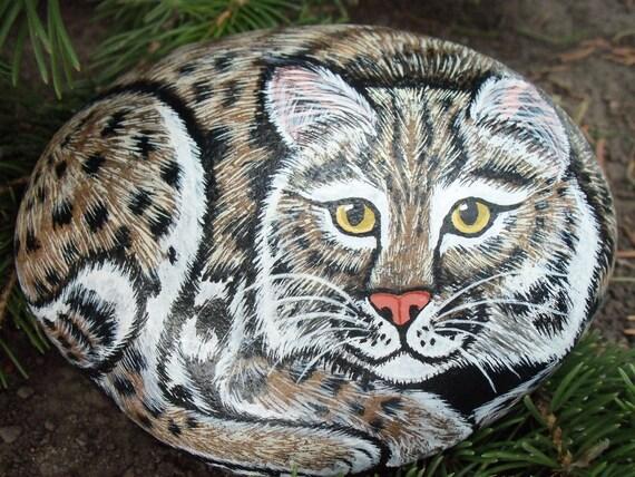 Animal painted rock bobcat