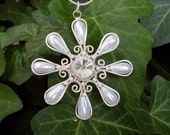 Snow White Star Flower Pendant Necklace, Wire Wrapped Flower Jewelry