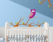 Baby Room Wall Decal Vinyl Removable Decor Sticker  - Nursery Branch with Owl - HW021