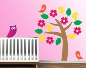 Baby Room Wall Decal Vinyl Removable Decor Sticker Nursery Tree w/Owl, Birds,Butterflies -HW024