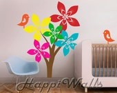 Baby Room Wall Decal Vinyl Removable Decor Sticker - Nursery Colorful Tree w/2 Birds - HW027