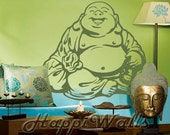 Wall Decal Removable Vinyl Home Decor Sticker - Laughing Lucky Buddha HW038