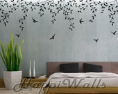 Wall Decal Vinyl Removable Home Decor Sticker - Hanging Plants with 6 Birds - HW036