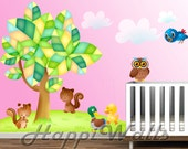 Baby Room Wall Decal Vinyl Removable Decor Sticker - Nursery Colorful Tree w/5 animals - HW044