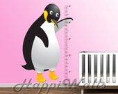 Baby Room Wall Decal Vinyl Removable Decor Sticker - Nursery Penguin Growth Chart - HW051