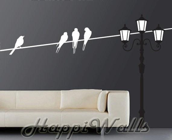 Bird Wall Decal, Vinyl Bird Decal Sticker, Vinyl Removable Home Decor, Light Pole with Birds on Wire