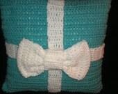 Turquoise Blue Decorative Crochet Present Throw Pillow