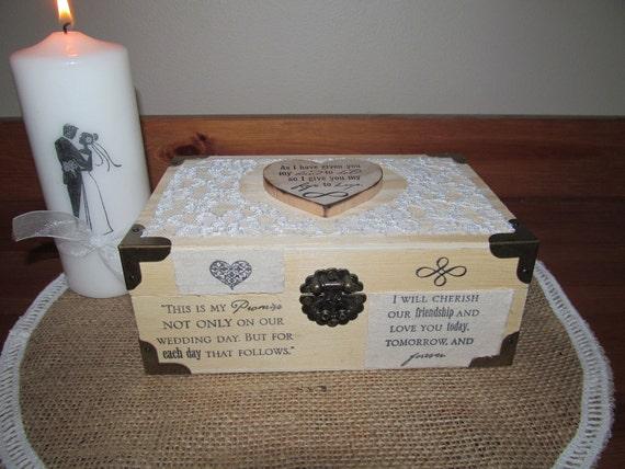 Beautiful Rustic Wood Ring Bearer Box - Hand Stamped Keepsake Wedding Ring Box - Lovely alternative to a ring bearer pillow