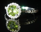 Green Peridot & Diamonds 14K White Gold Stand Alone or Stackable Ring with 3/4 Eternity Shank