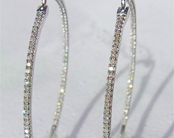 Diamonds IN and OUT & 14K White Gold  1.35 Inch Diameter Hoop Earrings
