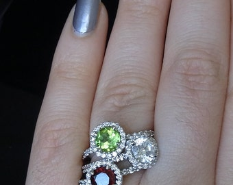 Garnet, Diamonds & 18K White Gold Stand Alone or Stackable Ring with 3/4 Eternity Shank