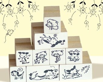 A Set of DIY Rubber Stamp -Puppy and Friend