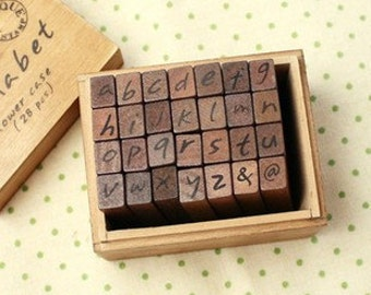 28 pcs Funnyman Antique Writing Alphabet Rubber Stamp-Lower Case