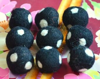 9pcs Black with White Polka Dots Wool Felt Balls (1cm, 1.5cm, or 2cm)