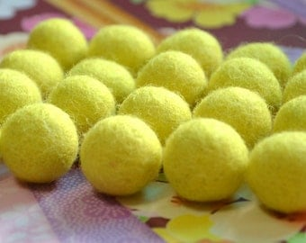 20pcs Yellow Wool Felt Balls (1cm)