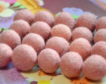20pcs Light Pink Wool Felt Balls (1cm, 1.5cm, or 2cm)