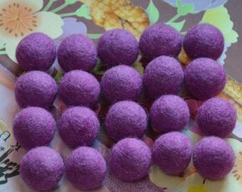 20pcs Dark Orchid Wool Felt Balls (1cm, 1.5cm, or 2cm)