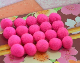 20pcs Hot Pink Wool Felt Balls (1cm, 1.5cm, or 2cm)