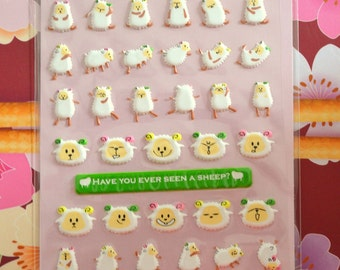 Japanese Puffy Sticker- Sheeps
