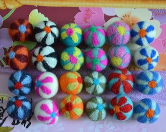 24pcs Multicolors Needle Felted Flower Felt Balls