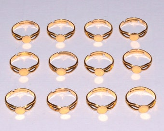 100pcs Glue on Pad Ring Findings (Gold Plated)