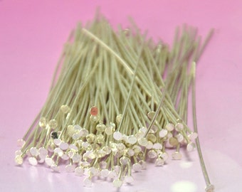 Lots of 1000 pcs Silver Plated Headpins 0.7 x 50mm