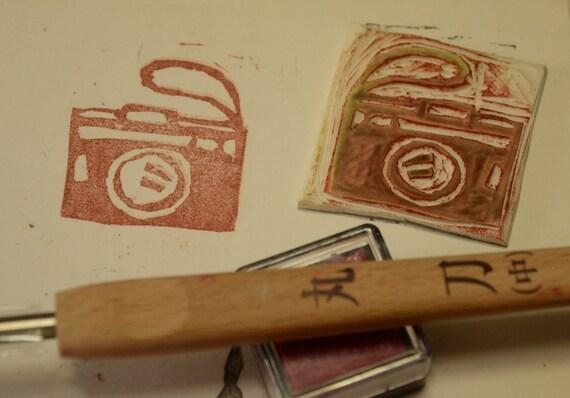 Camera - Handmade Unmounted Rubber stamp
