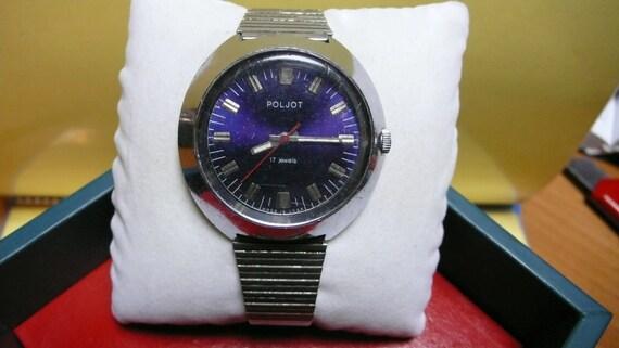 "USSR  ""POLJOT"" wrist watch 1960-70 Rare BIG case very very Good"
