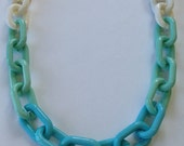 Turquoise Statement Necklace chunky chain link gold statement jewelry resin COPACABANA