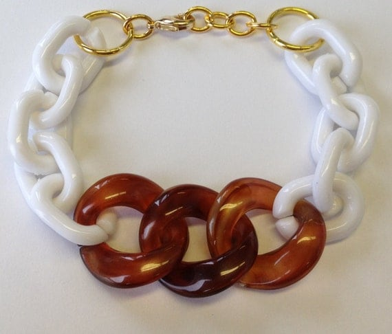 Chunky Bracelet links tortoise shell gold statement jewelry cuff chain LAYLA II