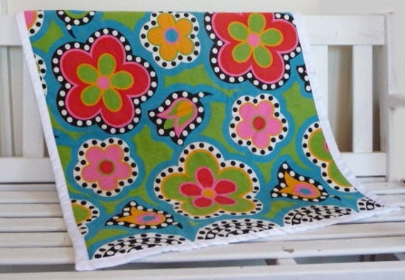Baby Blanket  - One Of A Kind Baby Quilt made with Vintage Fabric in Vibrant Colors, Cotton Batting, Soft White Minky Dot, Satin Edge