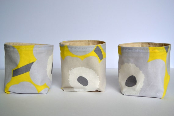 Marimekko Canvas Storage Baskets - Set of 3 - Marimekko Pieni Fabric in Yellow and Gray