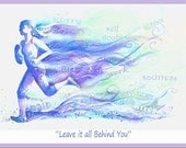 Runner inspirational watercolor painting art poster of woman