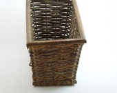 SALE--Vintage Rectangular Wicker Basket-Walnut Brown and Oh So French Country