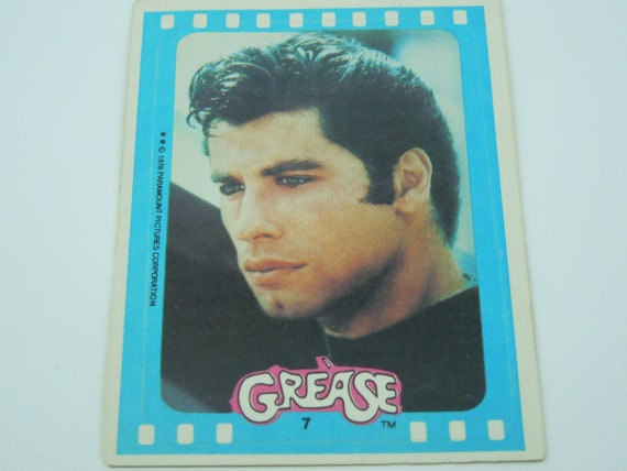 John Travolta Sticker-Grease Trading Cards-Circa 1970's-Retro Movie Memorabilia