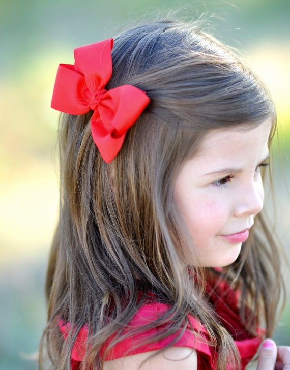 Red Boutique Bow - Simple Classic Red Hair Bow - Christmas Hair Bow - Red Bow - Red Hairbow - Red Hair Clip