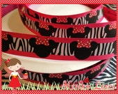 "5 Yards 7/8"" hot pink with zebra print Mouse head ribbon"