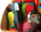 6 recycled rainbow crayons, set of six rectangles, great for party favors, perfect for toddlers