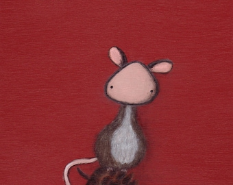 Little Mouse art print in red - great for kids' rooms