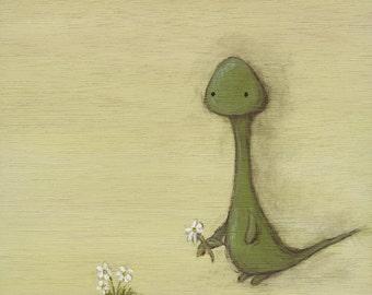 Salamander art print - 8x8 square lizard gecko painting