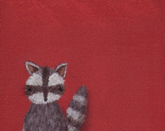 Red Raccoon Art Print - 8x8 square raccoon painting print