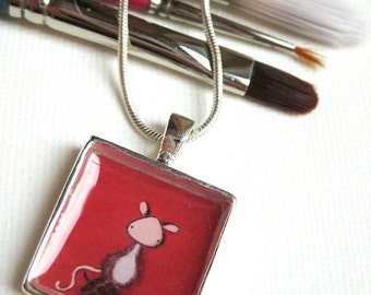 Mouse Pendant in Red - silver plated art necklace with tiny mouse painting, bright red