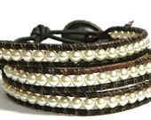 Pearl Beaded Leather Wrap Bracelet-3 Wrap